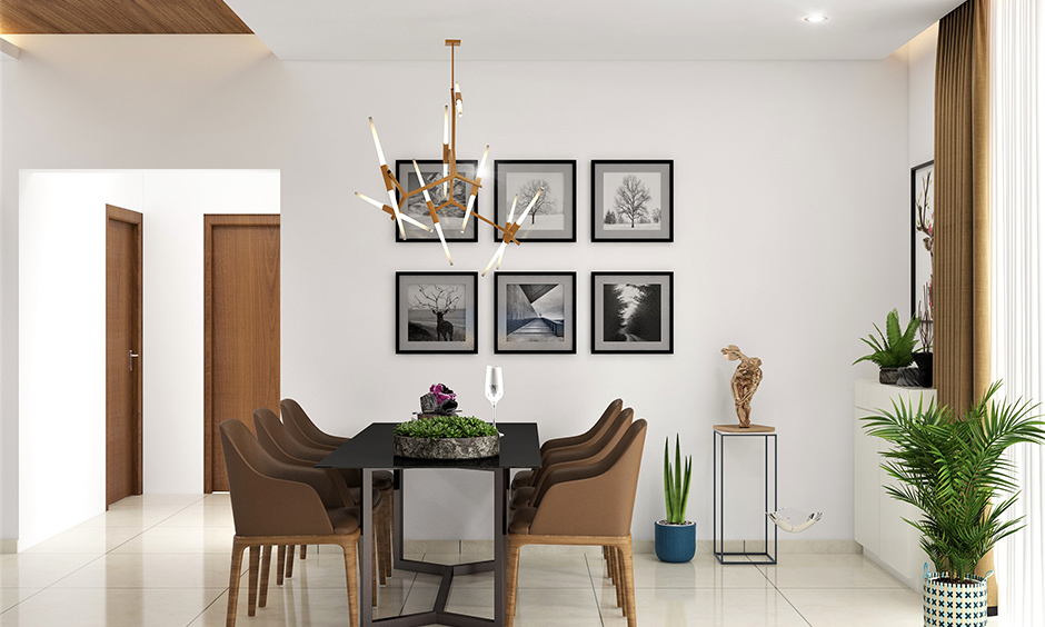 Stick hanging light in this dining room complements the interiors is the fancy lights for home decoration.