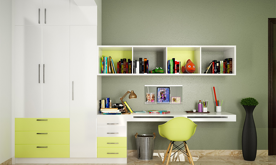 wall mounted study table with storage design for your home