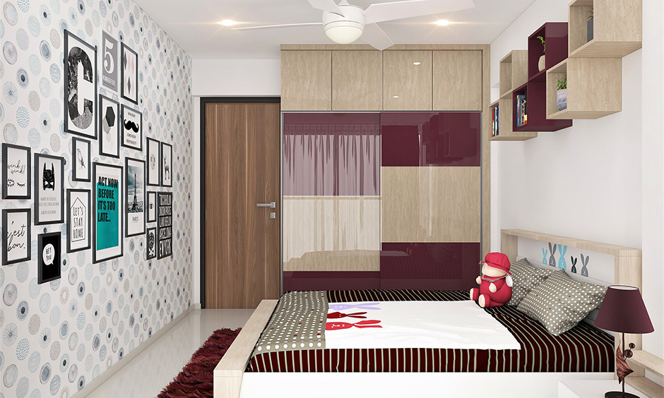 Laminates and veneers which are a striking contrast to the other decor