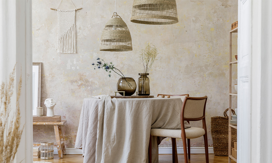 Dining table decoration items with neutral textures for your dining table decor to set the mood