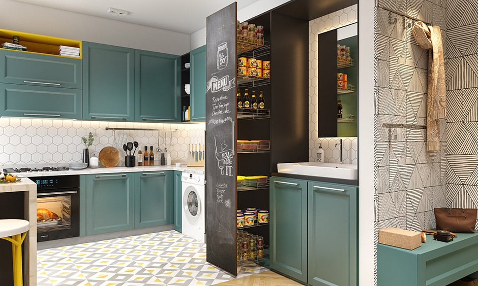 How to organize small kitchen, pullout pantry is great space savers and perfect for organising small kitchens