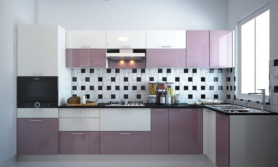Combination of white and lavender purple kitchen cabinets in high glossy design will add warmth to space.