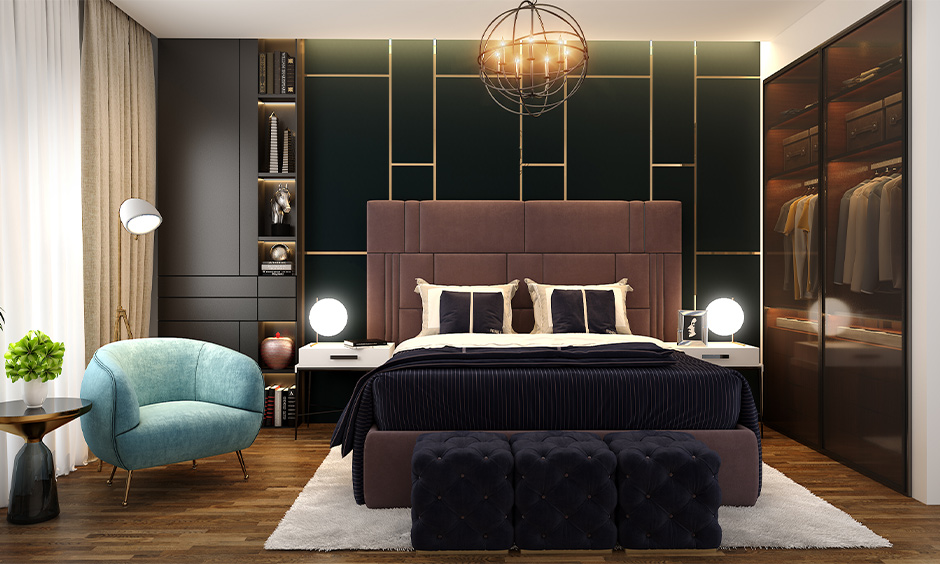 A mix of a classic and modern master bedroom with lamps that resemble a full moon on either side are lamps for the bedroom wall.
