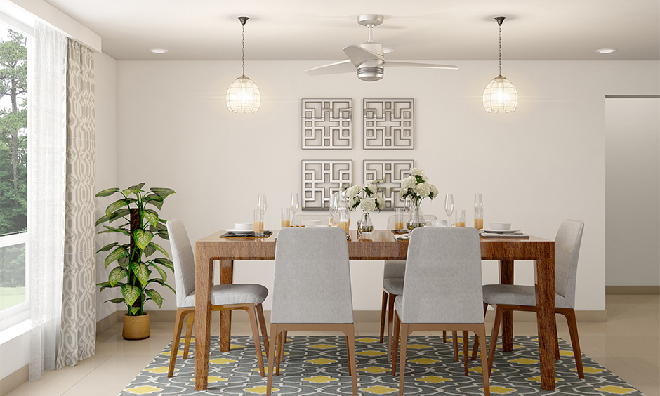 White dining room with two fancy lights look chic is the hanging led lights for the dining room in English touch.