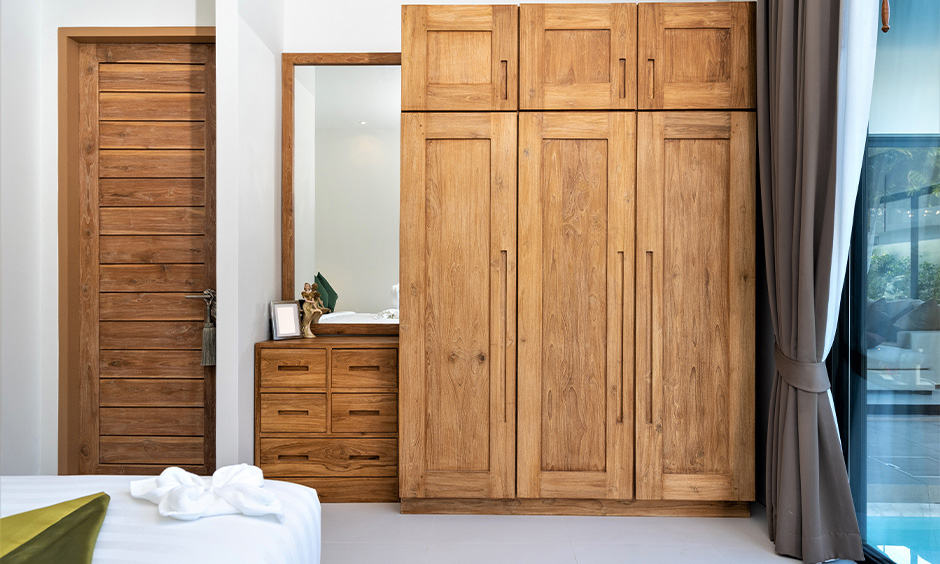3 door wooden almirah design for your bedroom