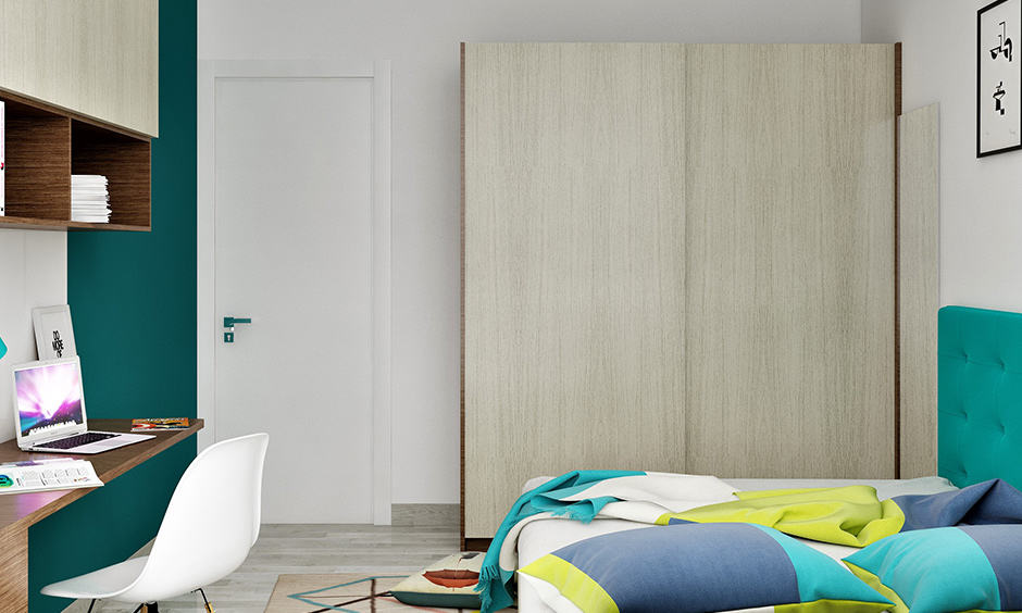 Wooden almirah design for bedroom with sliding door