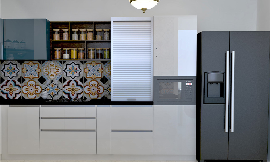 White kitchen rolling shutter rewards the kitchen with the luxury of space and looks aesthetic.