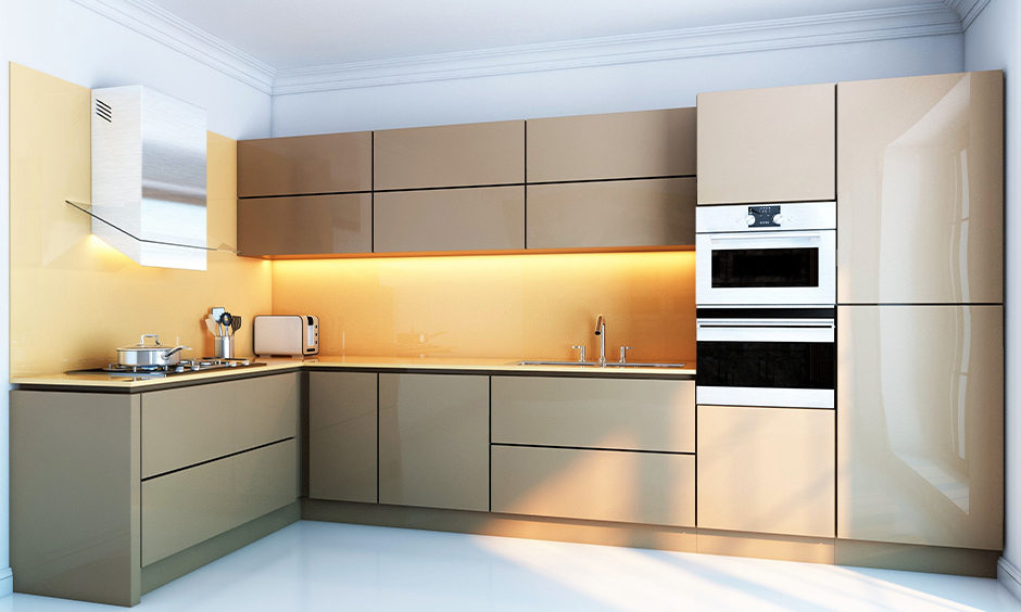 Lacquered sleek kitchen shutters in a cream colour finish are moisture dust resistant.