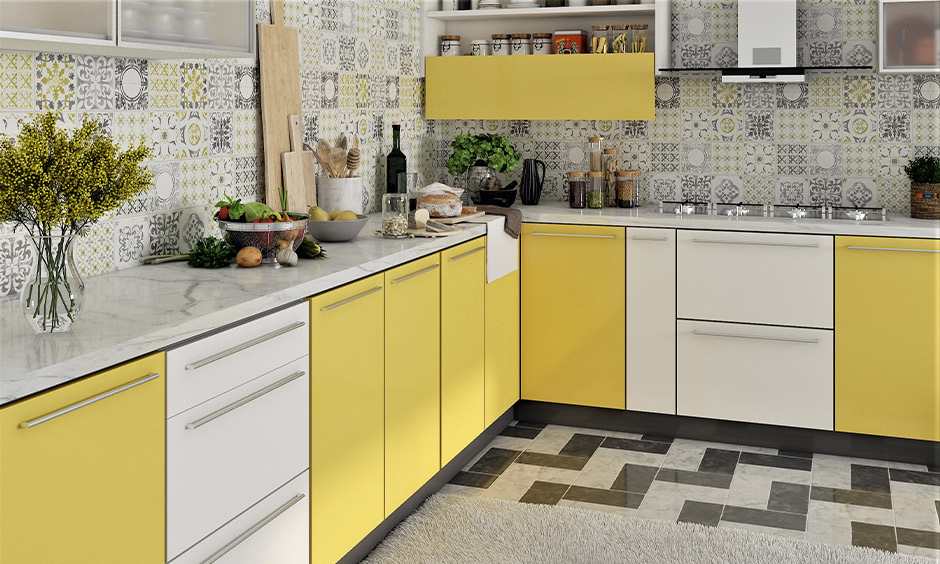 In yellow and white PVC member finish shutter in this modular kitchen is a super smooth finish and high water resistance.