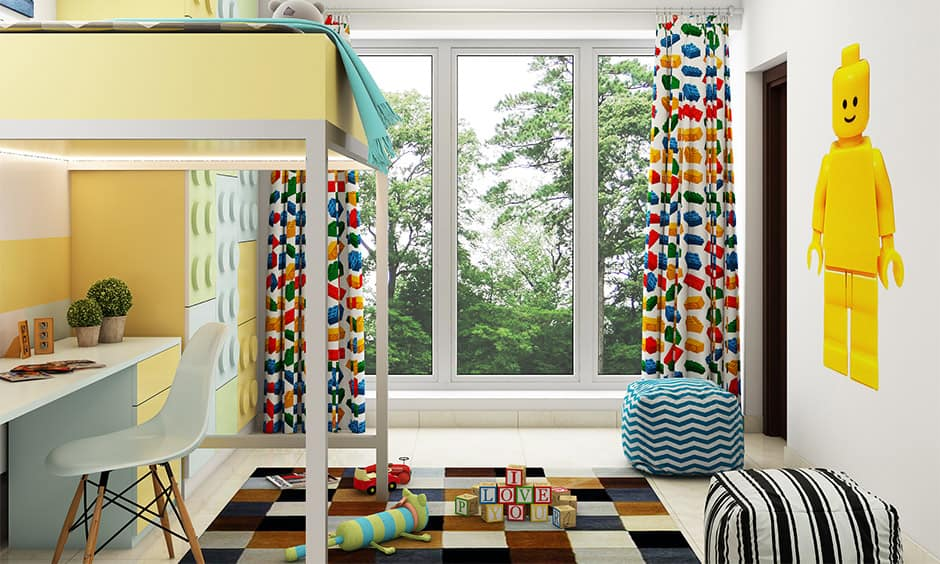 Multi-coloured curtains for white walls for your home