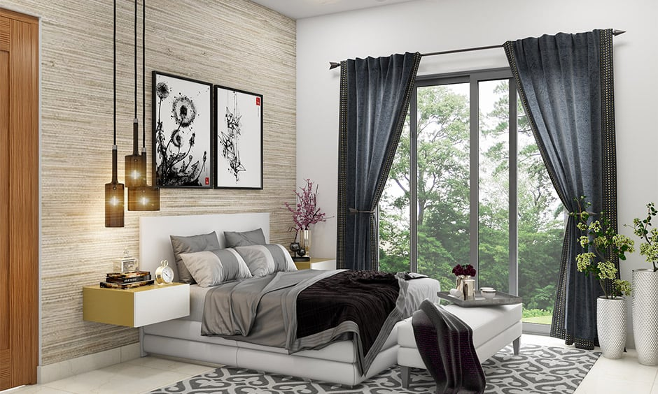 White and black curtains go well with white walls look elegant