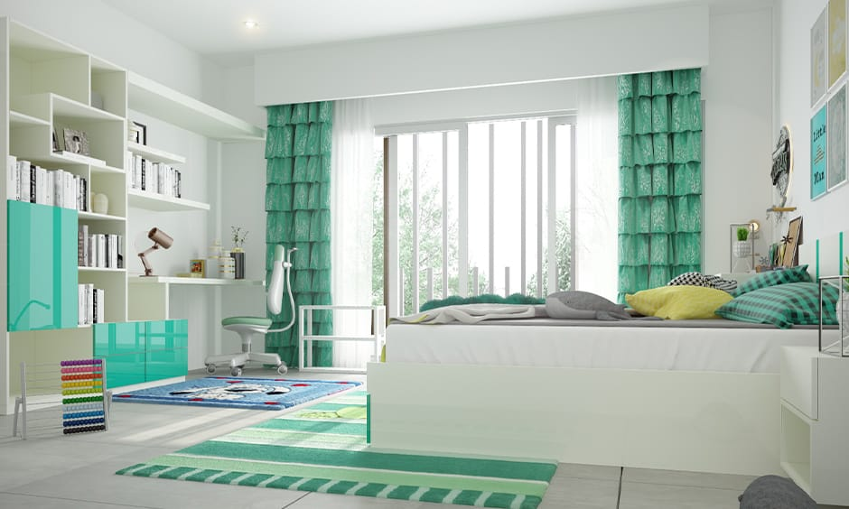 White and green curtains for white walls add incredible energy to your home