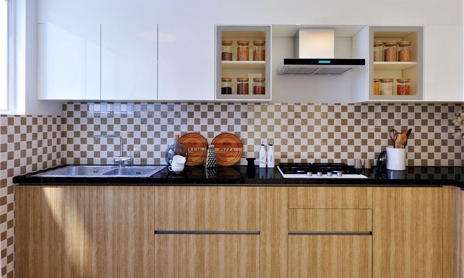 Beige and black color kitchen design