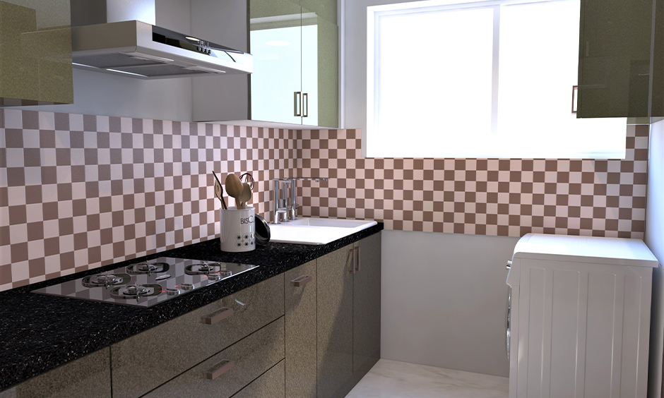 Kitchen has nero cosmic black granite countertop accentuates the beauty of the brown and white-tiled kitchen backsplash.