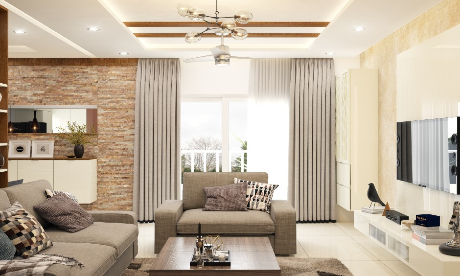 This modern curtain for living room that matches colours, patterns and textures to the area stands out.