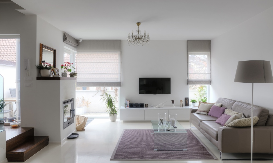 Blind white modern curtains for living room made from comfortable and soothing fabrics bring charm to the area.