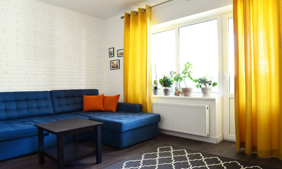 This yellow modern window curtains for living room is light, functional and bright as the sunshine.