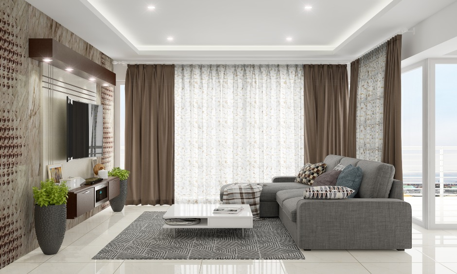 Neutral colour modern double curtains for living room with a delicate pattern on the white curtains look calm and beautiful.