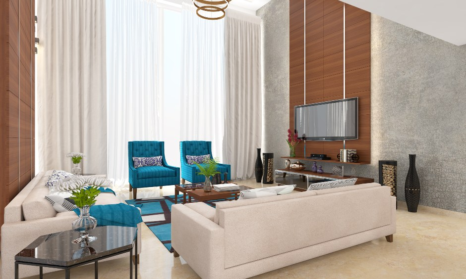 Ceiling to floor sheer modern curtain designs for living room in India are sophisticated, stunning and extremely functional.