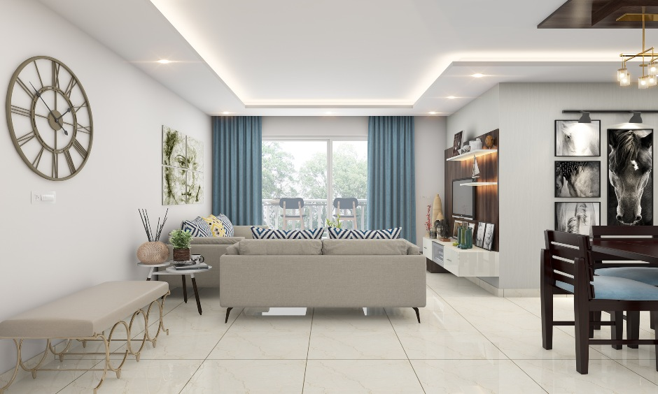 Ultra-modern curtain design for living room with blue curtains end up adding the right kind of charm to space.