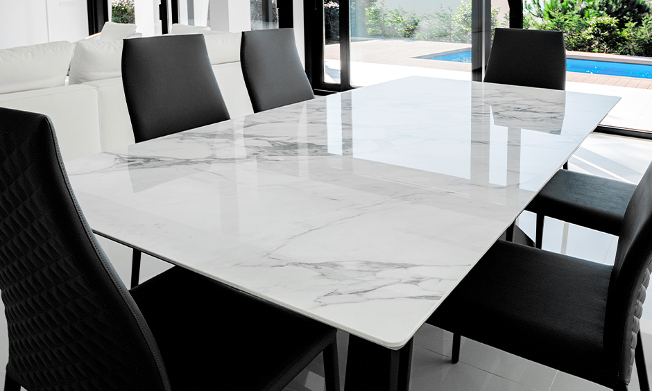 Marble dining table set