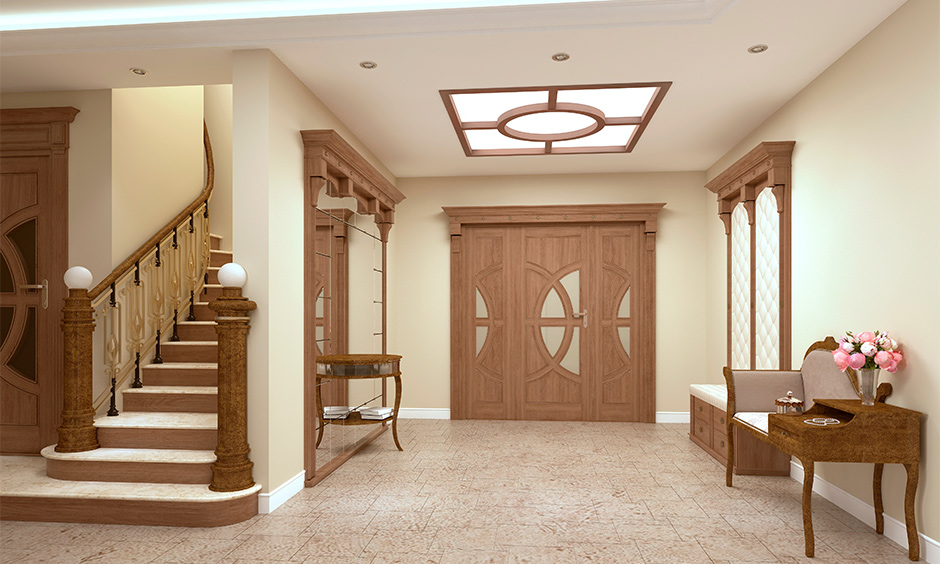 Antique lobby ceiling design for home with an old-fashioned lobby