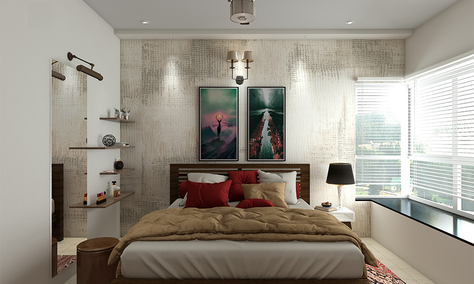 1 bhk flat interior design cost of the master bedroom with a textured wall, dressing table & queen-sized bed look elegant.