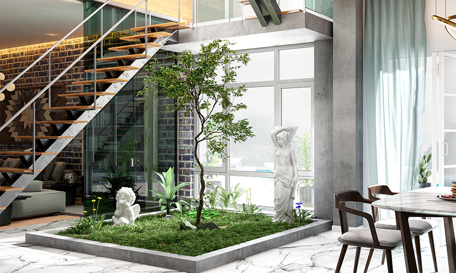 Latest pop design living room with a small garden and pop statues enhance the beauty of the area.