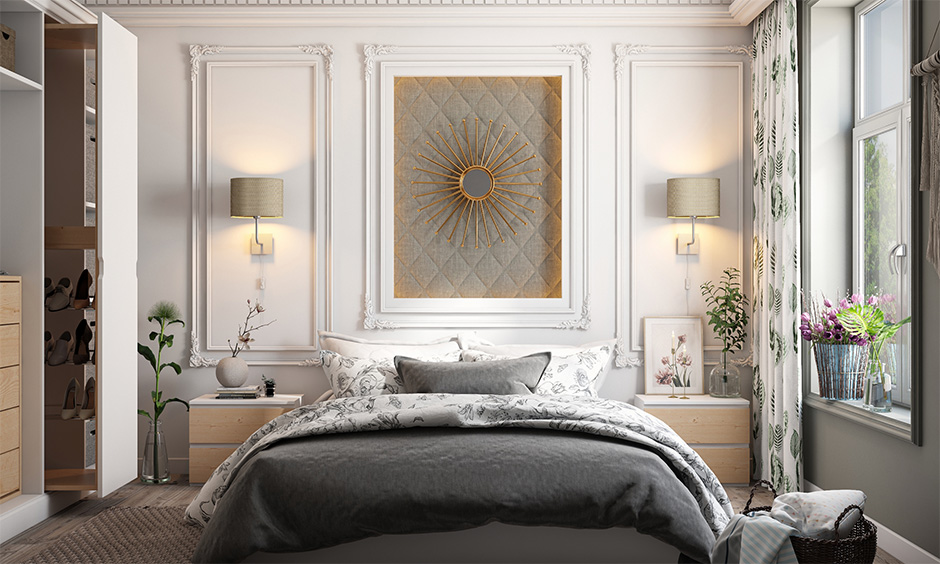 Master bedroom has 3d pop wall design adds a bit of flair and gives the space a European Classical look.