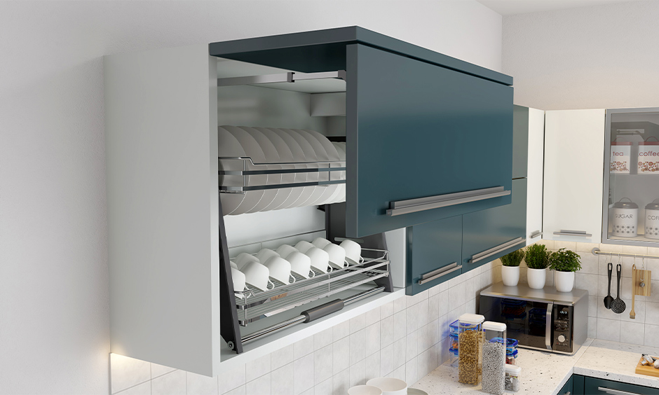 Pegasus stainless steel corner shelf for kitchen with a lift-to-open mechanism and to keep ceramics to avoid breakage.