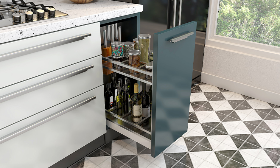 Pantry pull-out stainless steel shelf rack for the kitchen is a smart way to hassle-free storage of bottles and jars.