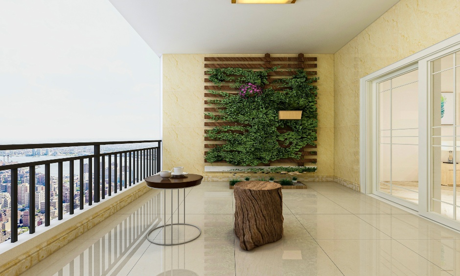 Modern balcony wall designed with vertical garden with the support of wooden paneling is balcony wall design ideas.