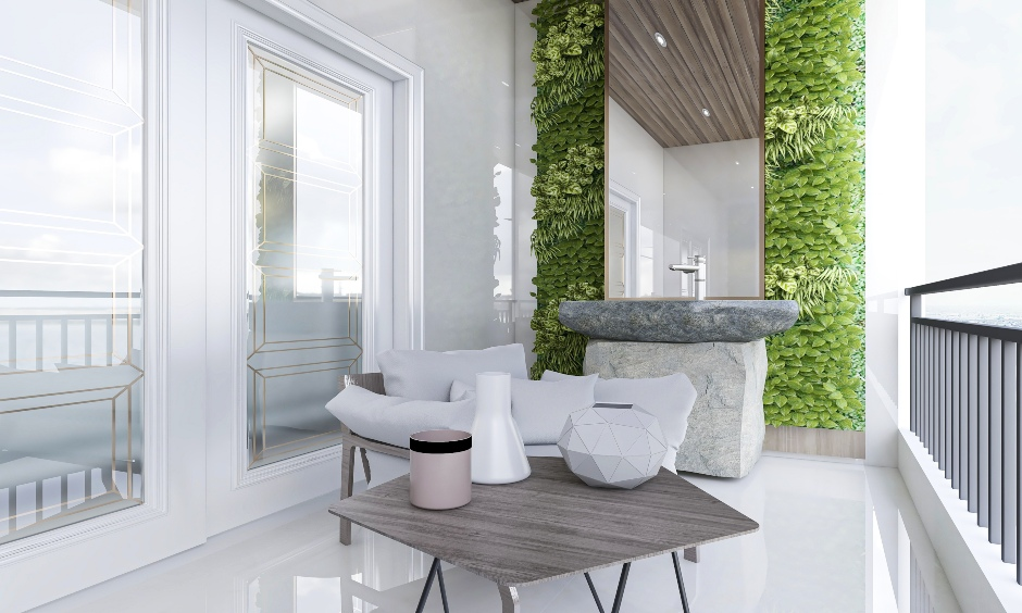 Balcony with stone wash basin and a long mirror against the wall is the modern yet rustic balcony wall design.