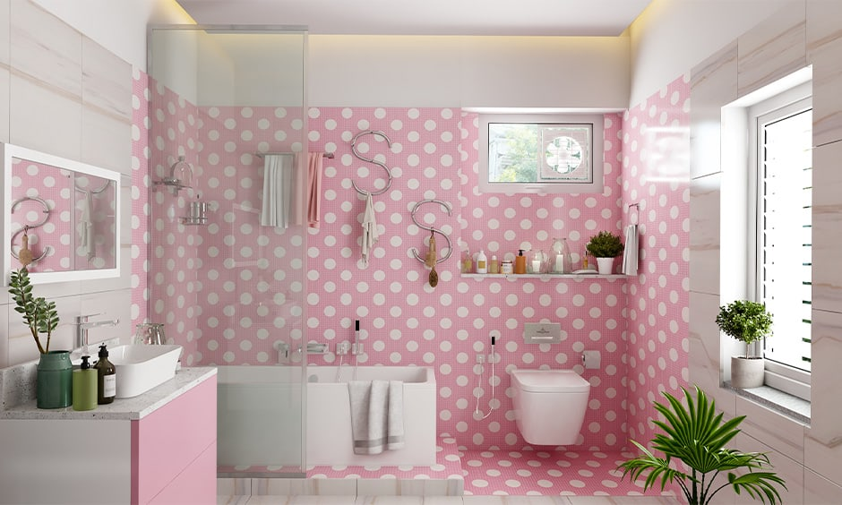 Girls bathroom decor with a polka dot wall in pink and white bathroom images