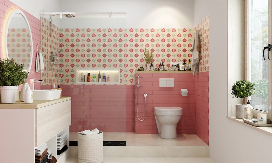Girls bathroom decor with floral pattern tiles