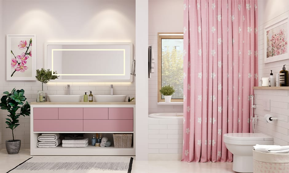Ladies bathroom decor with ample sink storage space