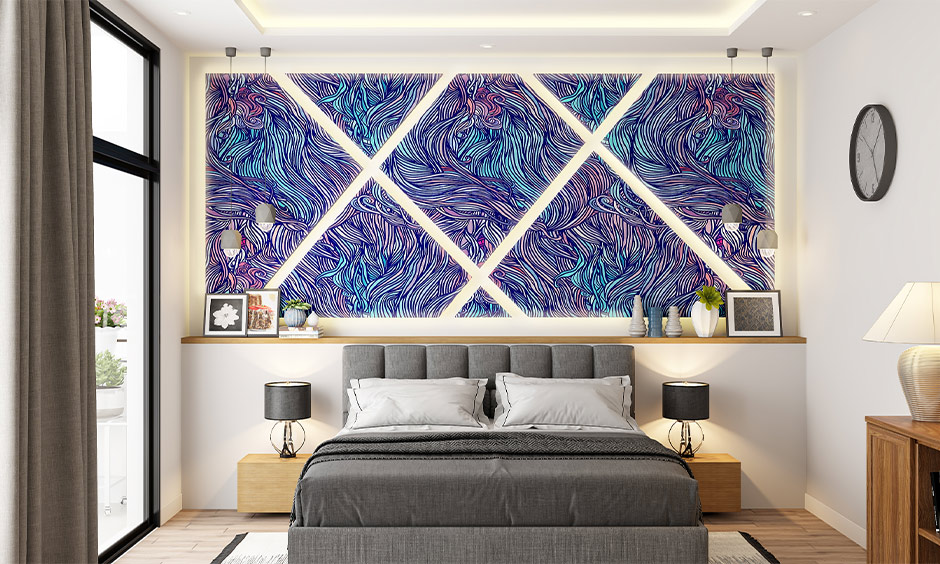 One entire wall, an abstract modern pop design for bedroom with the marble-like effect is a striking addition to space.