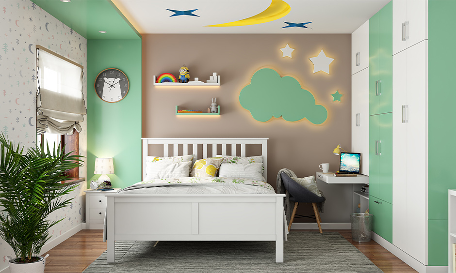 Kids room with a pop ceiling design in stars and the moon shape is the pop ceiling design for bedroom looks fun.