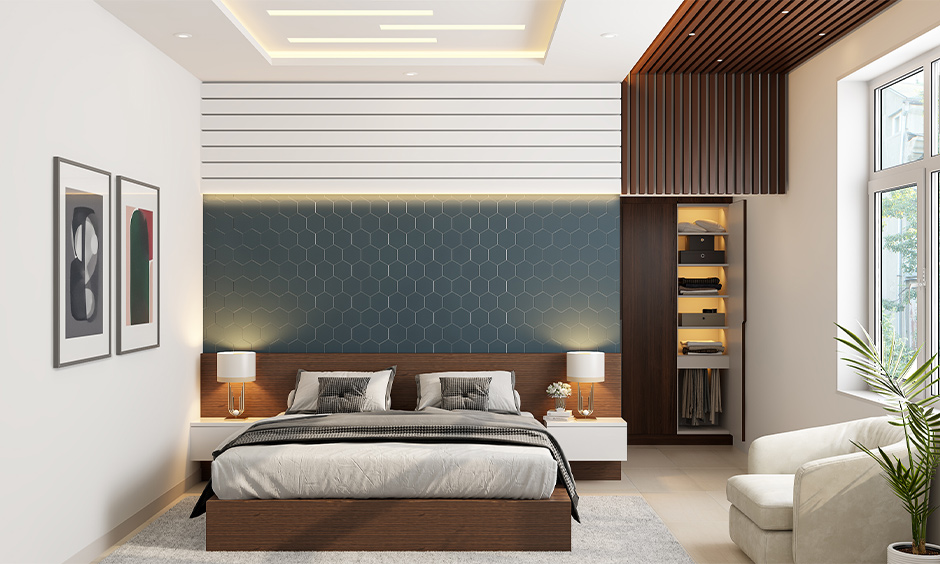 Pop ceiling bedroom with cove lighting, a wooden panelled false ceiling on the other end of the room brings a modern look.