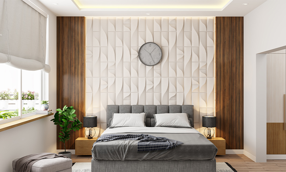 Pop 3d wall panelling design behind the headboard adds depth and character to space is the latest pop design for the bedroom.