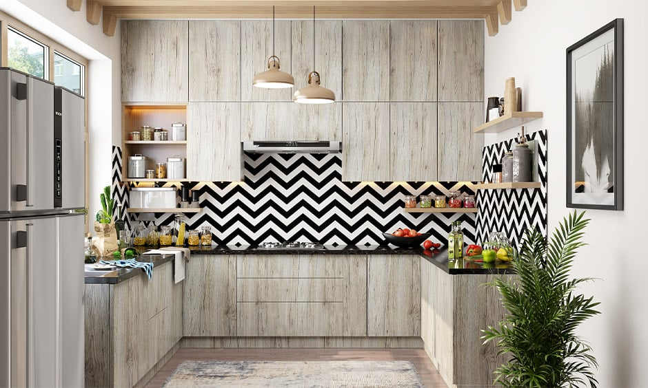 Black-and-white themed kitchen laminate backsplash