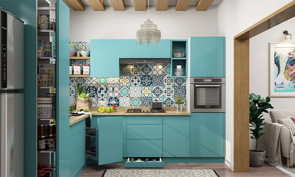 Bohemian backsplash in a bohemian-inspired kitchen design