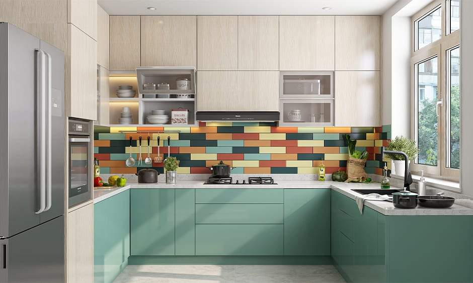 Colourful laminate backsplash idea for u-shaped kitchen
