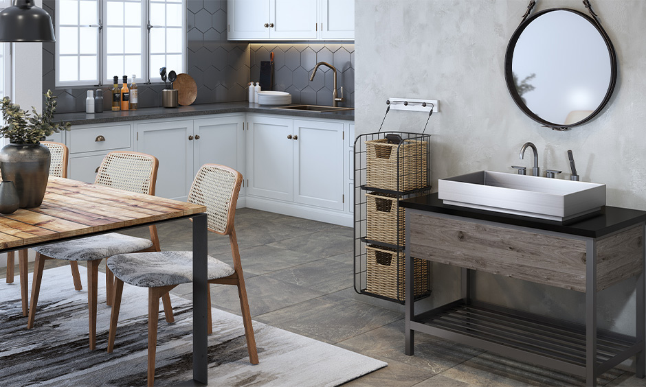 Kitchen cum dining room wash basin made from stainless steel with a single wooden drawer below looks beautiful.