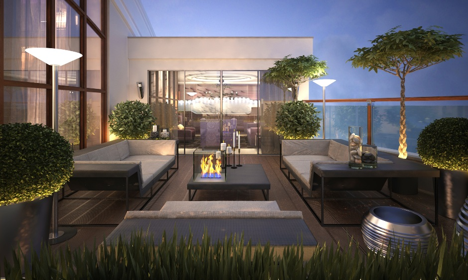 Modern terrace garden design ideas, Choose plush furniture, pair coffee tables and candles to complete the rich look.