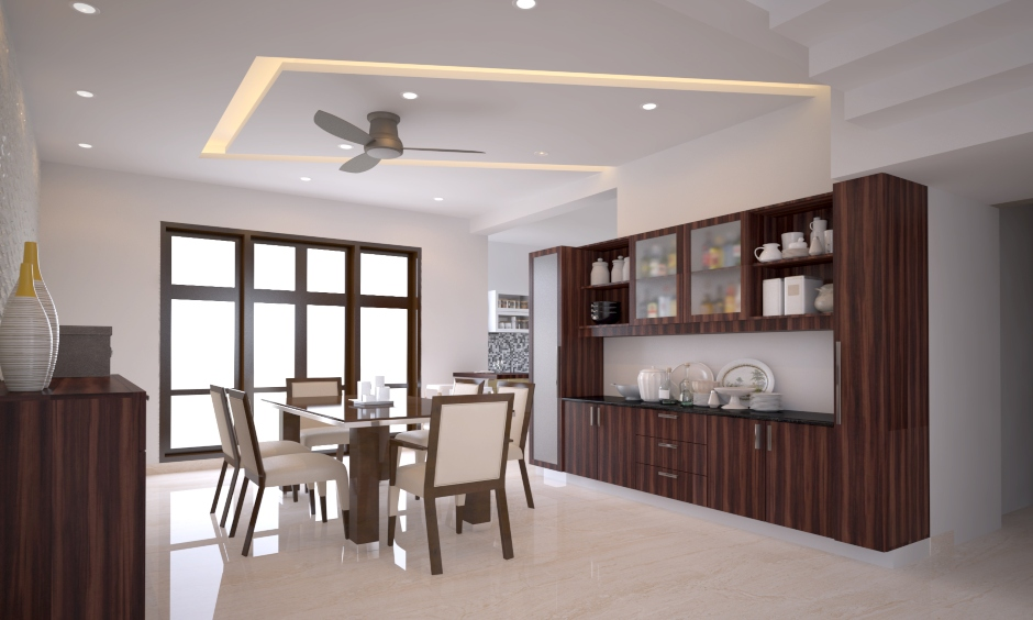 Ceiling design for dining hall with fan and ceiling light is the latest dining hall ceiling design looks elegant.