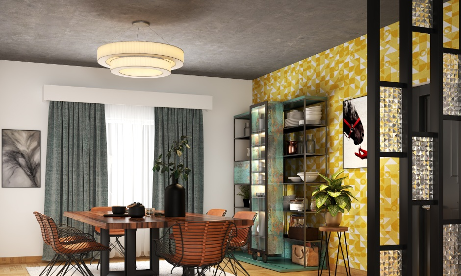 Luxury ceiling design with a round chic chandelier is the latest fall ceiling design for a dining hall with the table.