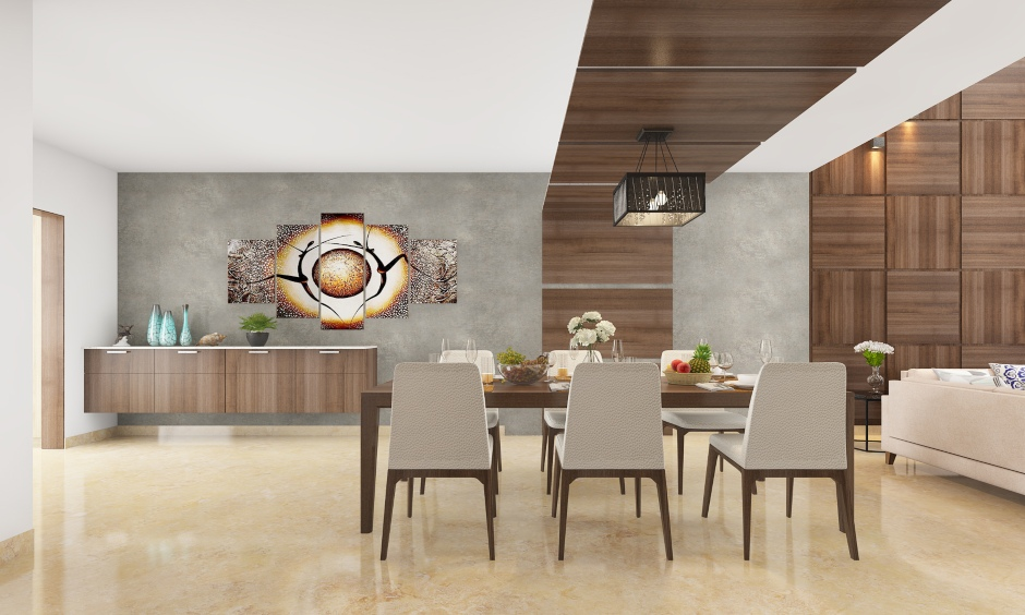 Latest modern dining hall ceiling design with a wooden ceiling streak and chandeliers creates an iconic dining space.
