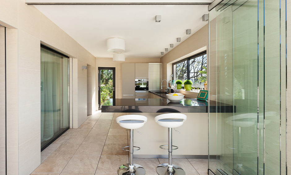 Folding kitchen door glass design for your home