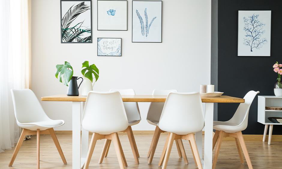 Minimalist elegant dining room chairs made from a combination of wood and fibre brings a quintessential zen vibe.